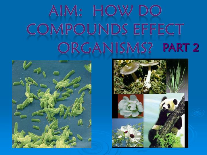 AIM:  How do Compounds effect organisms?