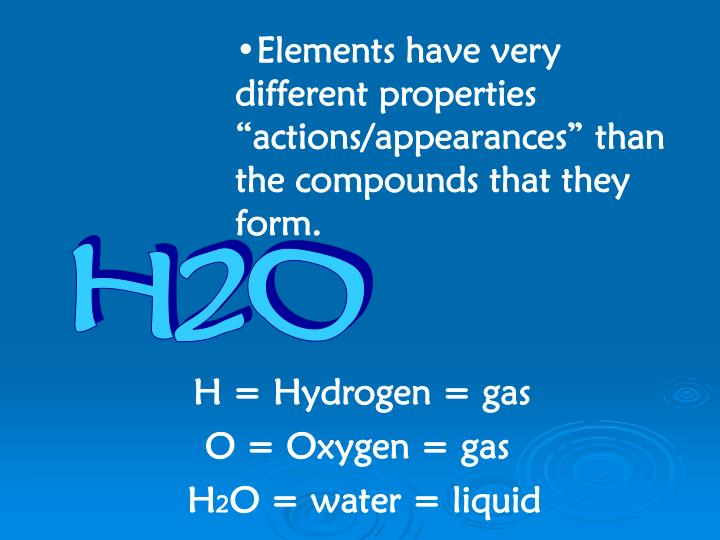 "Elements have very different properties ""actions/appearances"" than the compounds that they form."