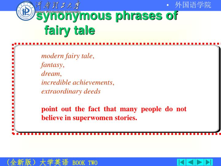 synonymous phrases of fairy tale