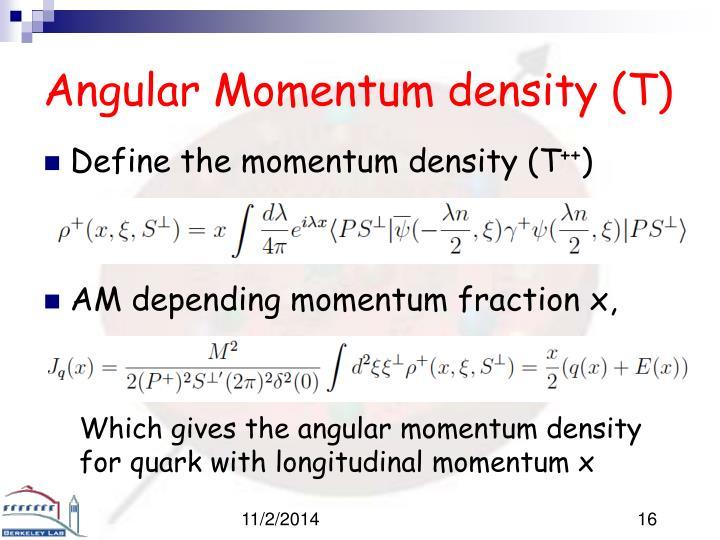 Angular Momentum density (T)