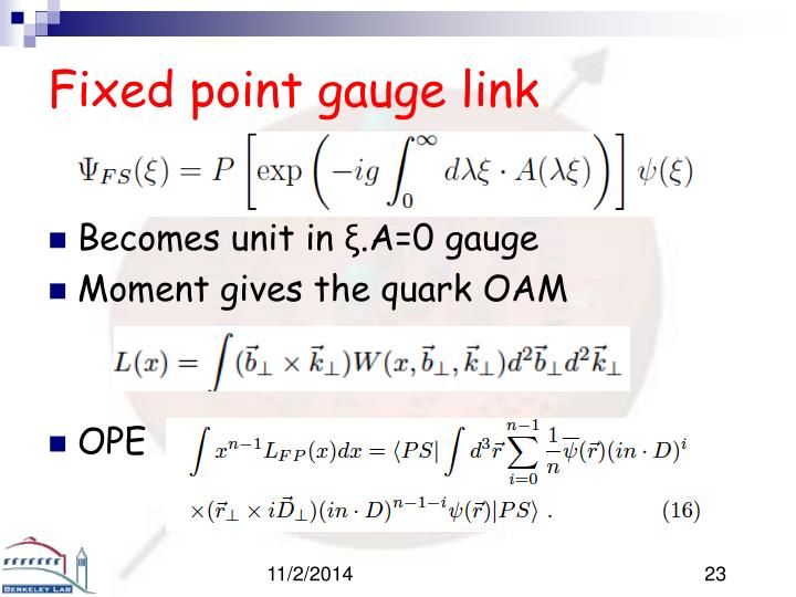 Fixed point gauge link