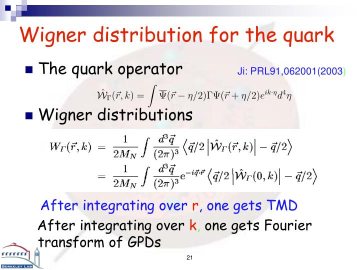 Wigner distribution for the quark