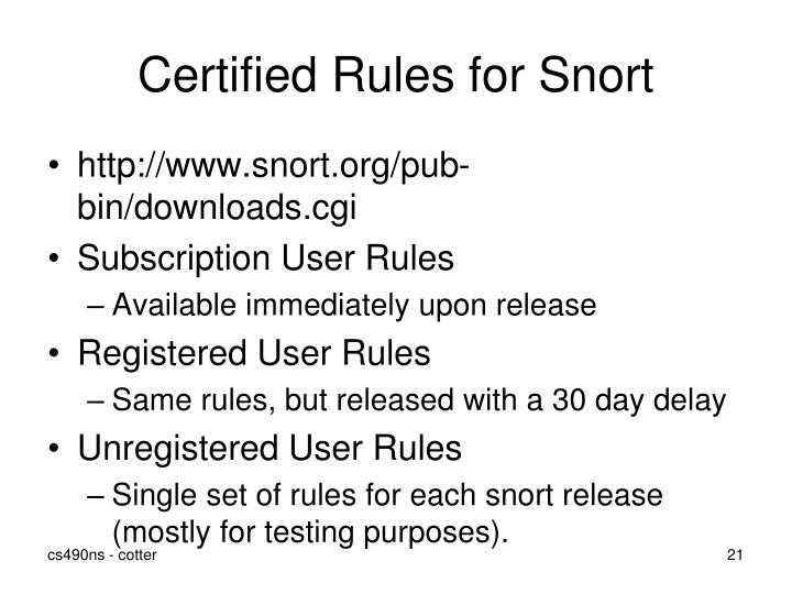 Certified Rules for Snort