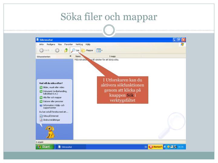 Söka filer och mappar