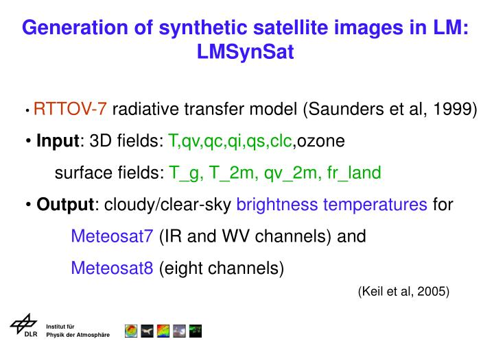Generation of synthetic satellite images in LM: LMSynSat