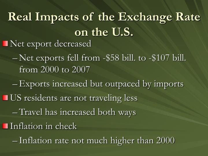 Real Impacts of the Exchange Rate on the U.S.