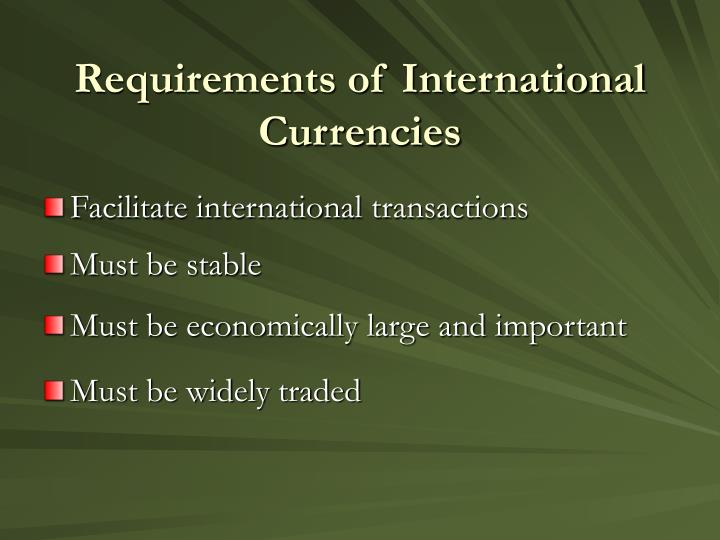 Requirements of International Currencies