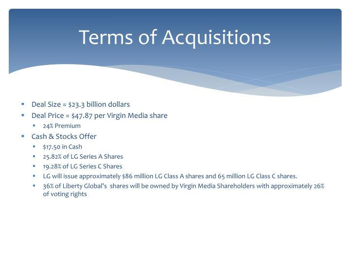 Terms of Acquisitions