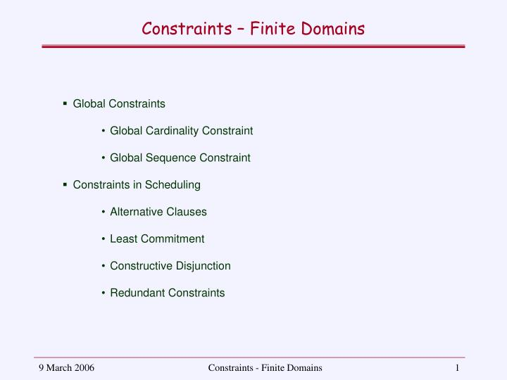 Constraints finite domains