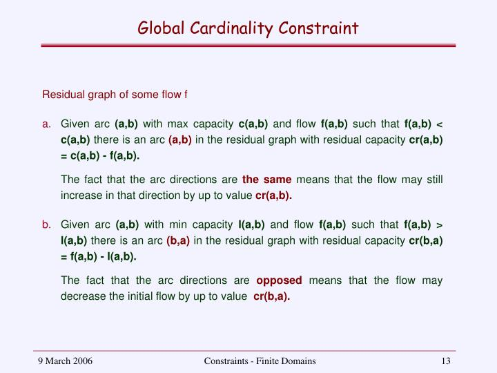 Global Cardinality Constraint
