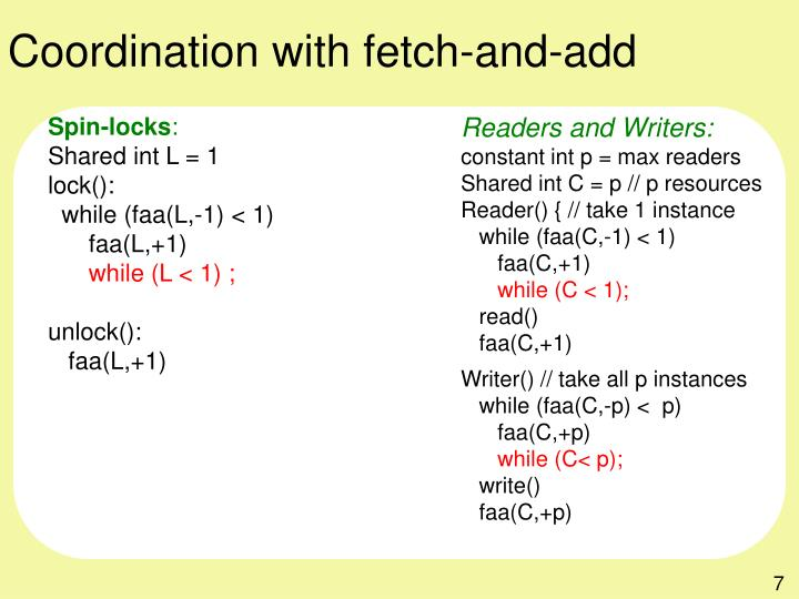 Coordination with fetch-and-add