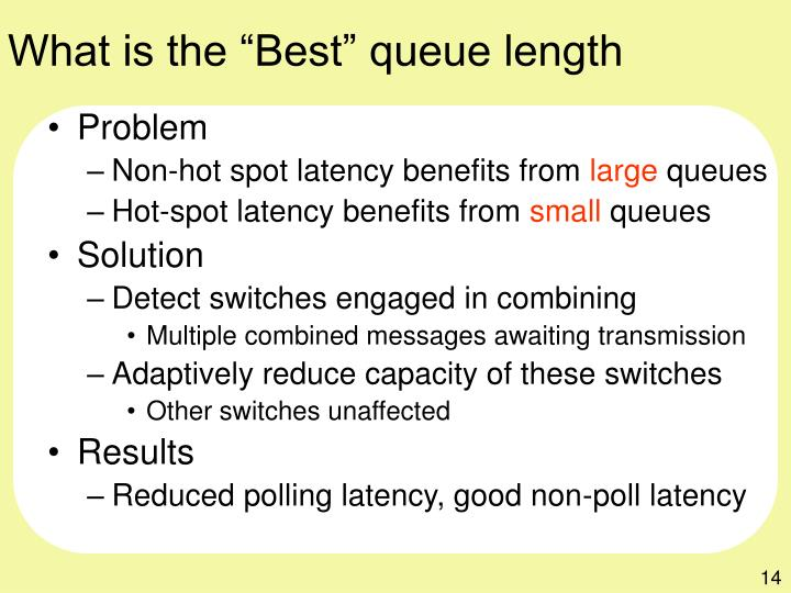 "What is the ""Best"" queue length"
