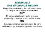 water as a gas exchange medium