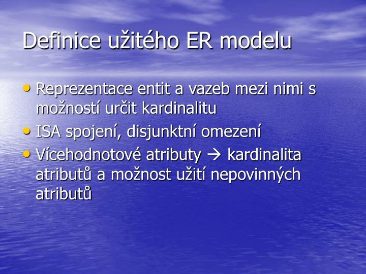 Definice užitého ER modelu