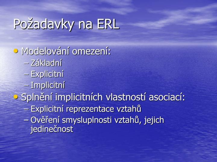 Požadavky na ERL