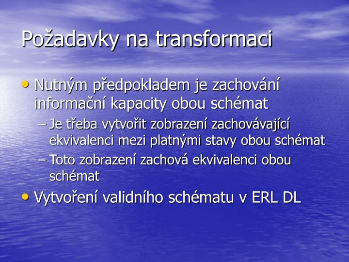 Požadavky na transformaci