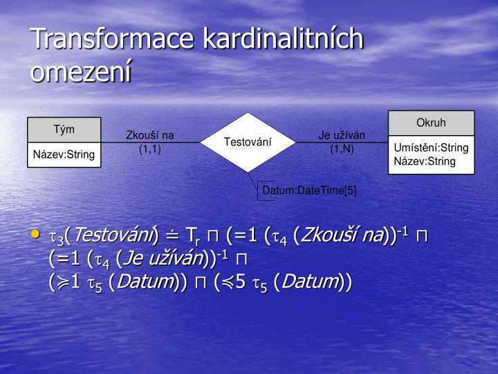 Transformace kardinalitních omezení