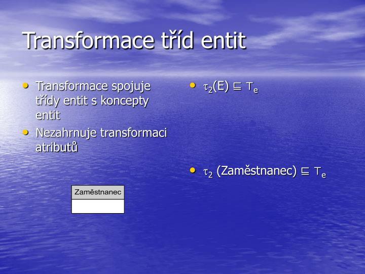 Transformace tříd entit