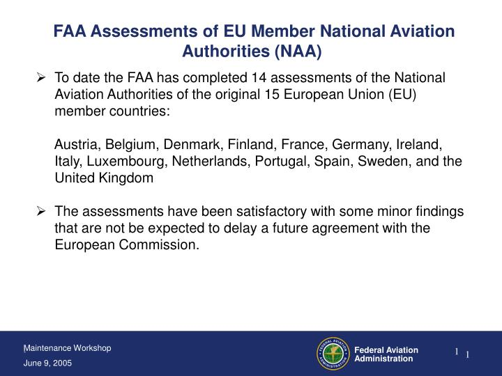 Faa assessments of eu member national aviation authorities naa