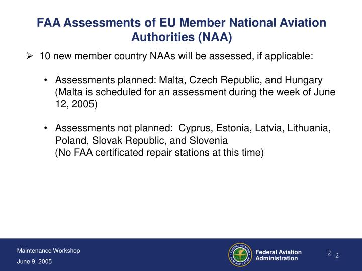 Faa assessments of eu member national aviation authorities naa1