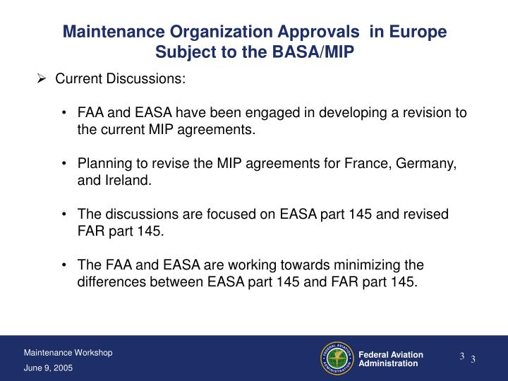 Maintenance Organization Approvals  in Europe Subject to the BASA/MIP
