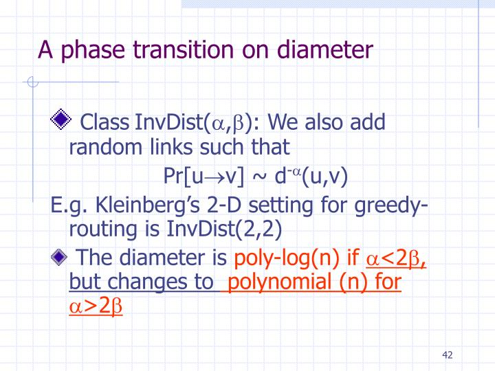 A phase transition on diameter