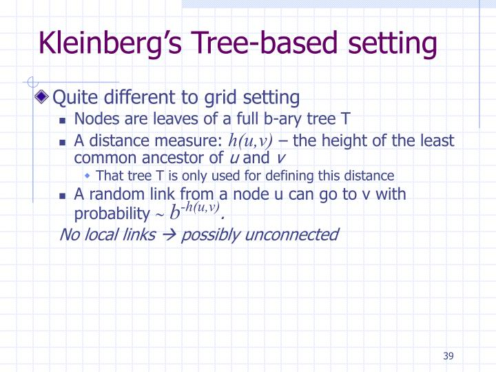 Kleinberg's Tree-based setting