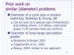 prior work on similar diameter problems