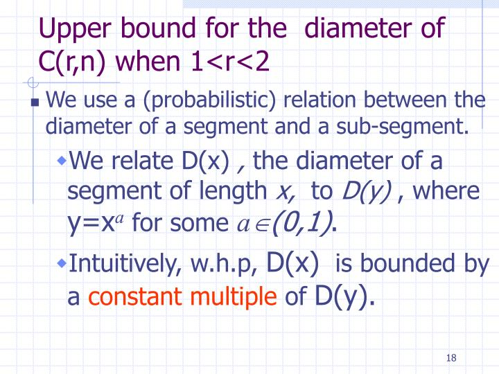Upper bound for the  diameter of C(