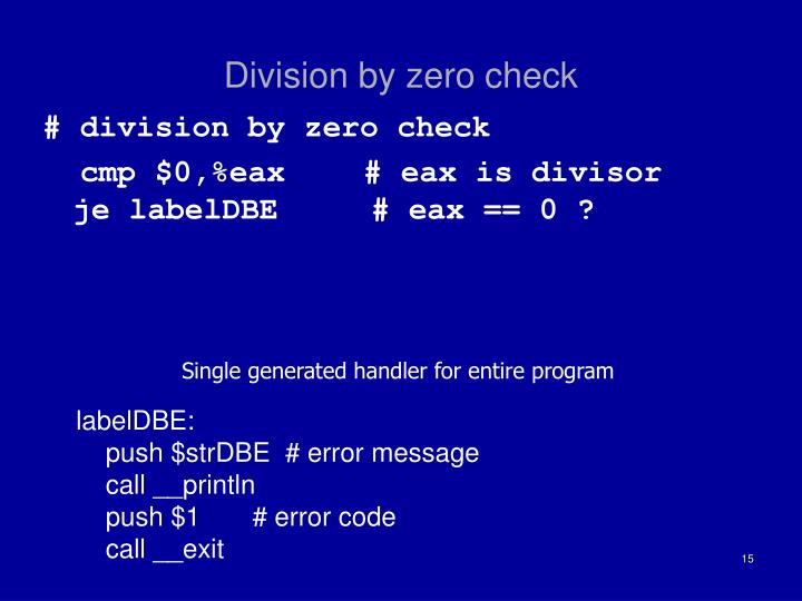 Division by zero check