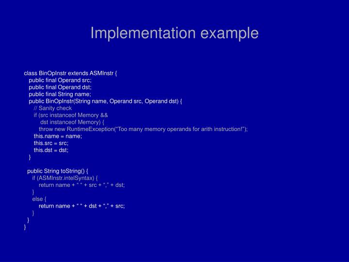 Implementation example