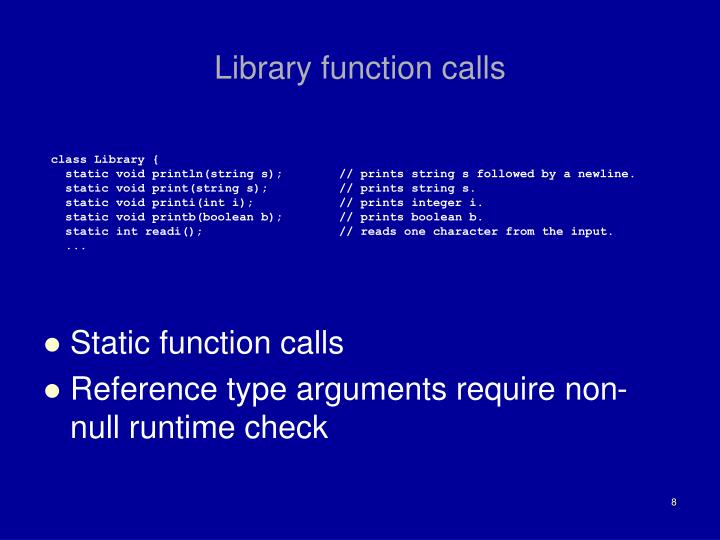 Library function calls