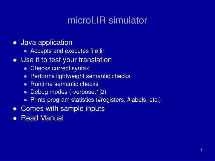 microLIR simulator