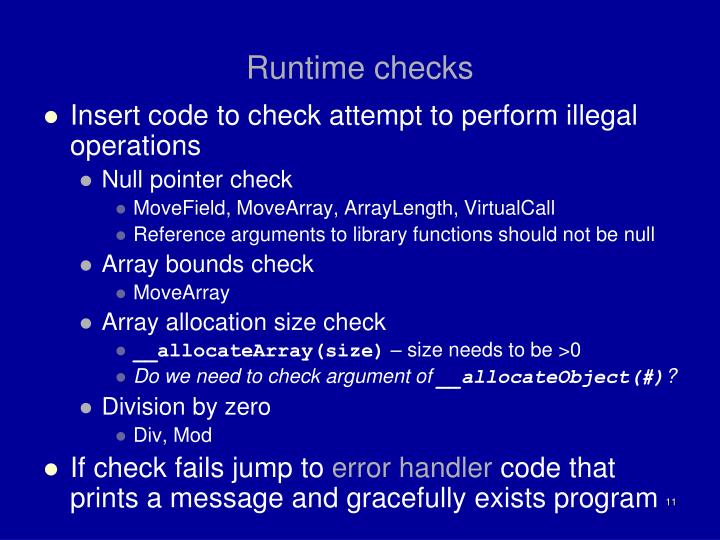 Runtime checks