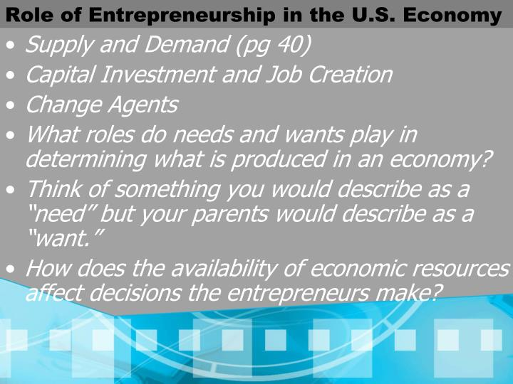 Role of Entrepreneurship in the U.S. Economy