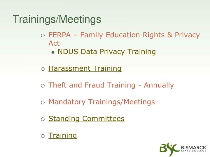 Trainings/Meetings