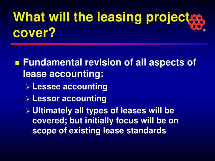 What will the leasing project cover?