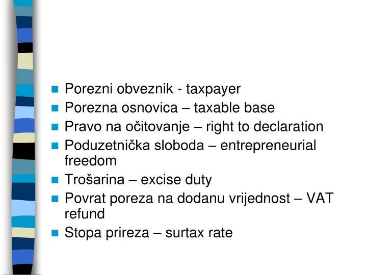 Porezni obveznik - taxpayer