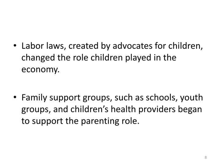Labor laws, created by advocates for children, changed the role children played in the economy.