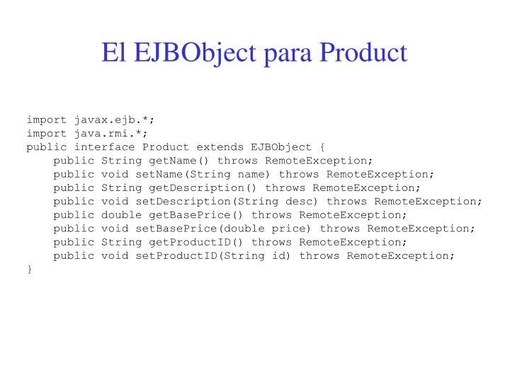 El EJBObject para Product