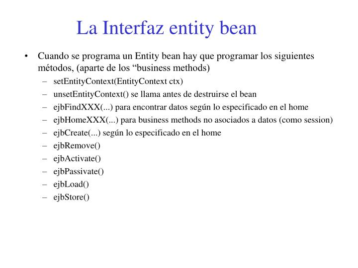 La Interfaz entity bean