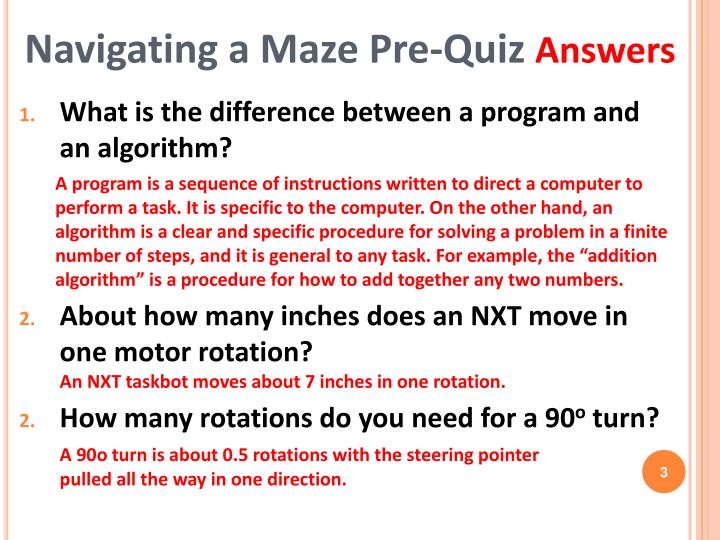 Navigating a maze pre quiz answers