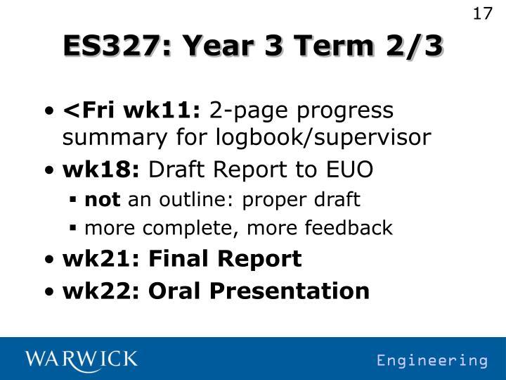 ES327: Year 3 Term 2/3