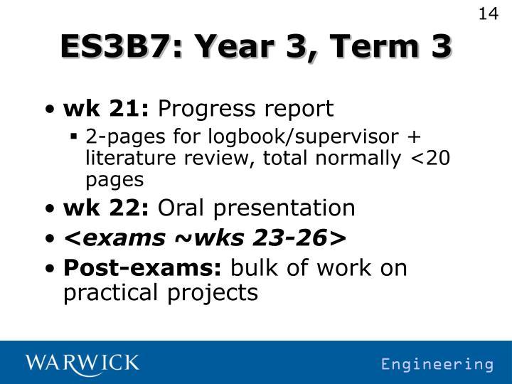 ES3B7: Year 3, Term 3