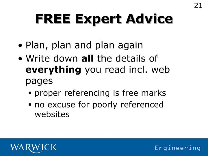 FREE Expert Advice