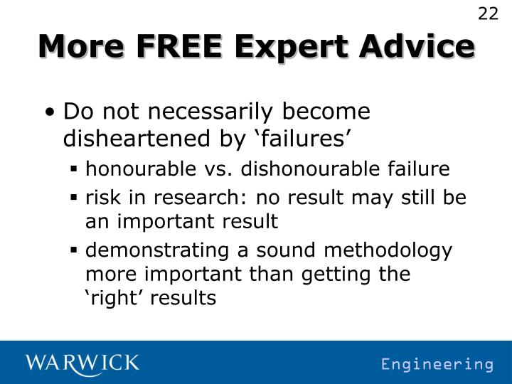 More FREE Expert Advice