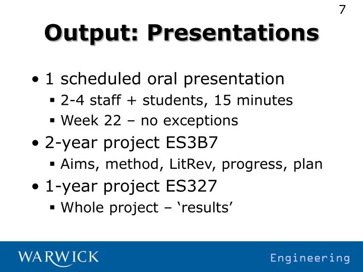 Output: Presentations