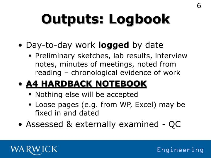 Outputs: Logbook