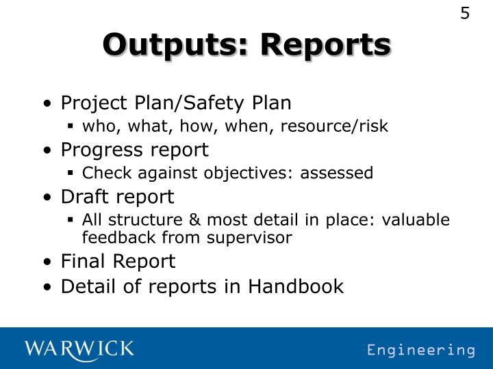Outputs: Reports