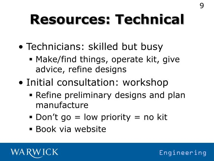 Resources: Technical